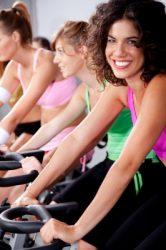 Women in spinning class